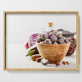 Fresh organic purple fruits and vegetables Serving Tray