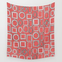 frames Wall Tapestries featuring picture frames coral by Sharon Turner