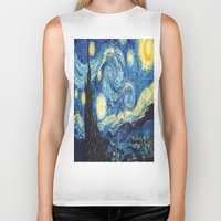starry night Biker Tanks featuring Starry Night by ~~a~~k~~a~~