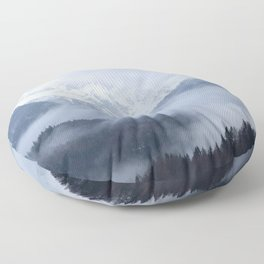 Mysterious fog rolling through layers of hills and mountains Floor Pillow