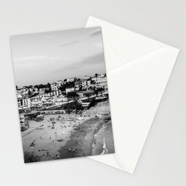 Carvoeiro town and beach in Lagoa, Algarve, Portugal. Black and White. Stationery Cards