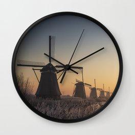 Sunrise at Kinderdijk Wall Clock
