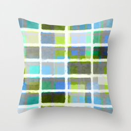 Rectangles in Blues and Greens Throw Pillow