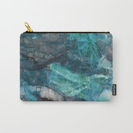 Cerulean Blue Marble Carry-All Pouch