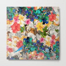 tiger and colorful flowers Metal Print