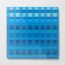 Blue  Plaid Pattern Metal Print