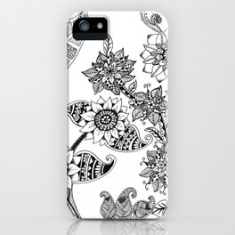 Black and White Flower Doodle iPhone Case