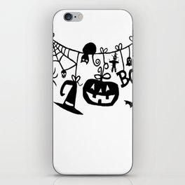 Boo Trick or Treat Halloween Bats, Pumpkins iPhone Skin