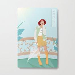 Elegant Summer Lady Metal Print