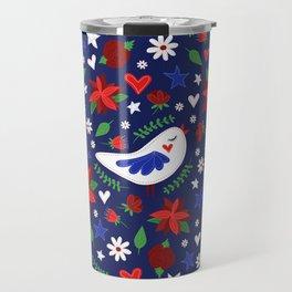 Holiday Bird & Poinsettias Travel Mug