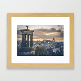 Edinburgh city and castle from Calton hill and Stewart monument Framed Art Print