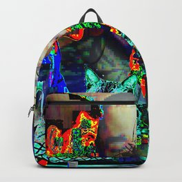 Electro Glitch Cat Just Doesn't Care Backpack