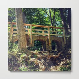Stone Arched Bridge Amidst The Forest Metal Print