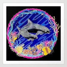 Vaquita Porpoises In Sea life Wreath Art Print