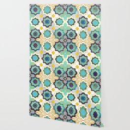 Marrakesh gold and blue geometry inspiration Wallpaper