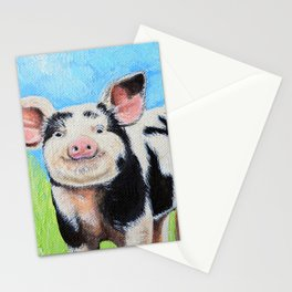 Happy Pig Painting Stationery Cards