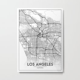 Minimal City Maps - Map Of Los Angeles, California, United States Metal Print