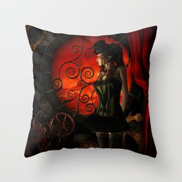 Steampunk, wonderful steampunk lady in the night Throw Pillow