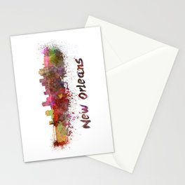 New Orleans skyline in watercolor Stationery Cards