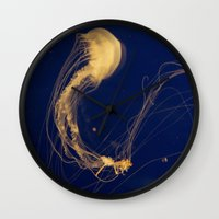 jelly fish Wall Clocks featuring Jelly fish by Snail,Snail