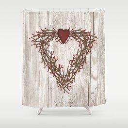 Pip Berry Heart Wreath Shower Curtain