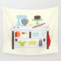 kitchen Wall Tapestries featuring Kitchen Island by Yellow Chair Design