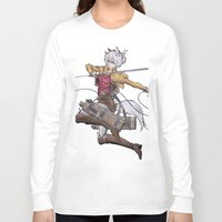 attack on titan Long Sleeve T-shirts featuring Yoshimi Titan attack by ChiyoArts