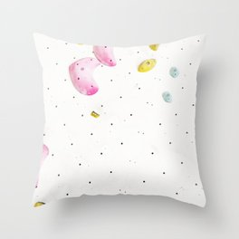 Geometric abstract free climbing bouldering holds white minimal pink Throw Pillow