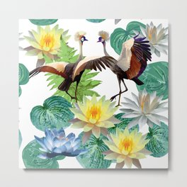 seamless pattern of cranes and lotuses Metal Print