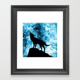 Howling Winter Wolf snowy blue smoke Framed Art Print