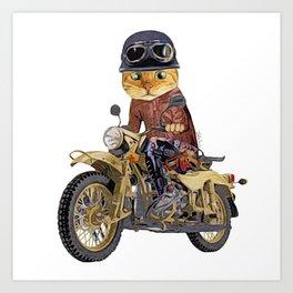 Cat riding motorcycle Art Print