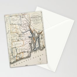 Map of Rhode Island 1818 Stationery Cards