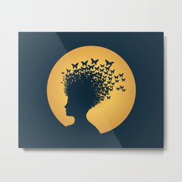 Woman and Butterflies Metal Print