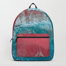 SPLASH III - Electric Pink Sand and Turquoise Waves Art Print Backpack