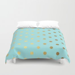Gold polka dots on aqua background - Luxury turquoise pattern Duvet Cover