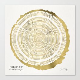 Douglas Fir – Gold Tree Rings Canvas Print