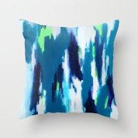 ikat Throw Pillows featuring Ikat by kristinesarleyart