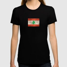 Vintage Aged and Scratched Lebanese Flag T-shirt