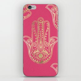 Neon pink faux gold inspirational Hamsa hand of Fatima iPhone Skin