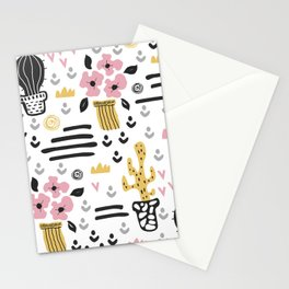 Cute flowers and cactus Stationery Cards