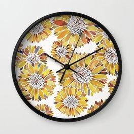 Sunflower Blooms – Yellow Wall Clock