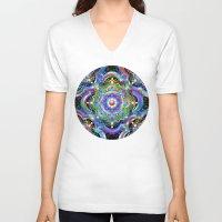 psychedelic art V-neck T-shirts featuring Mandala Psychedelic Art Design by BluedarkArt