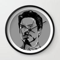tony stark Wall Clocks featuring Tony Stark by Hazel