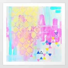 Abstract Mix - Lemon Yellow, Magenta & Turquoise Art Print