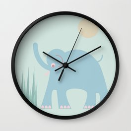 Elephant in the Grass Wall Clock