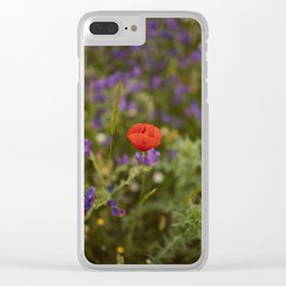 Red poppy's tale Clear iPhone Case