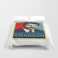 ron swanson Duvet Covers featuring Ron F***ing Swanson by Søren Schrøder