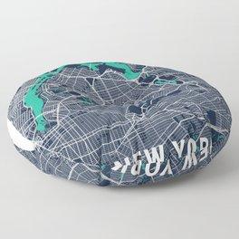 New York Blue Dark Color City Map Floor Pillow