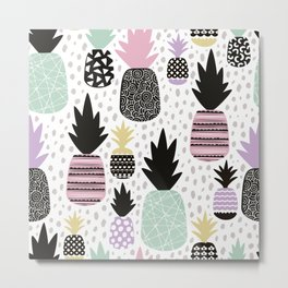Summer pineapples in pastel color pop Metal Print