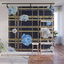 Beautiful Gold and Blue Floral Feminist Killjoy Tartan Wall Mural